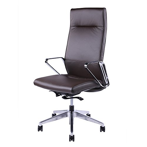 Sunon High-Back Ribbed Swivel Executive Chair Computer Luxury Leather Upholstered Adjustable Office Chair with White Shell and Chrome Armrest (Dark Brown)