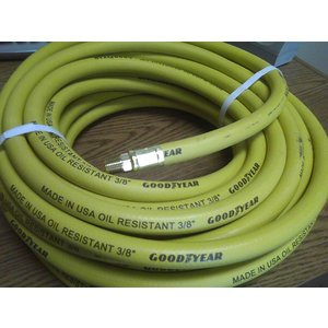 Air Hose Continental ContiTech YELLOW RUBBER 250psi 3/8'' x 50' with brass fittings