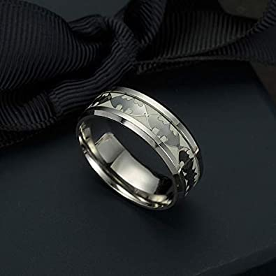 Geek /& Glitter Batman Glow-in-The-Dark Ring Titanium Stainless Steel Silver Ring Band DC Superhero Cosplay Jewelry