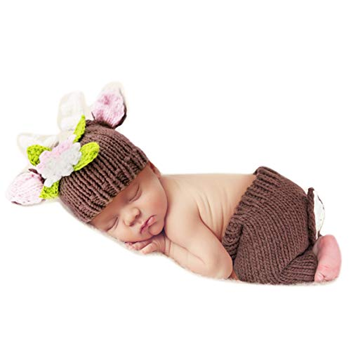 Yokumo Deer Design Costume Newborn Baby Girl Photography Props Photo Shoot Clothes Hat Pants Outfits Brown ()