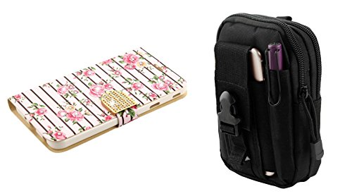 PU Leather Bling Flip Cover Wallet Case (Pink Roses) with Tactical EDC MOLLE Waist Bag Holder Pouch and Atom Cloth for Samsung Galaxy J7 2018 J737 (J7 V 2nd Gen, Aero, Refine, Star) ()