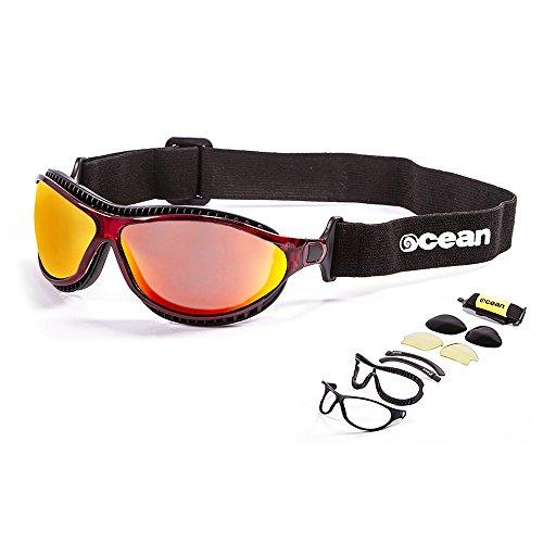 Ocean Sunglasses - tierra de fuego - lunettes de soleil polarisées  - Monture : Rouge Transparent - Verres : Revo Jaune (12201.4)