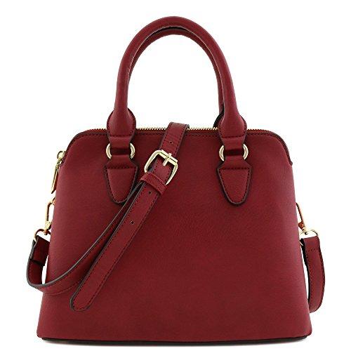 Classic Double Zip Top Handle Satchel Bag Burgundy