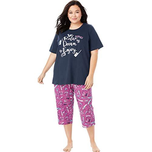 Dreams & Co. Women's Plus Size Graphic Tee Capri Pj Set - Navy Bubble Bath, 30/32