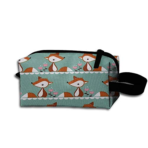 (Makeup Cosmetic Bag Cute Little Fox Organic Jersey Medicine Bag Zip Travel Portable Storage Pouch For Mens Womens)