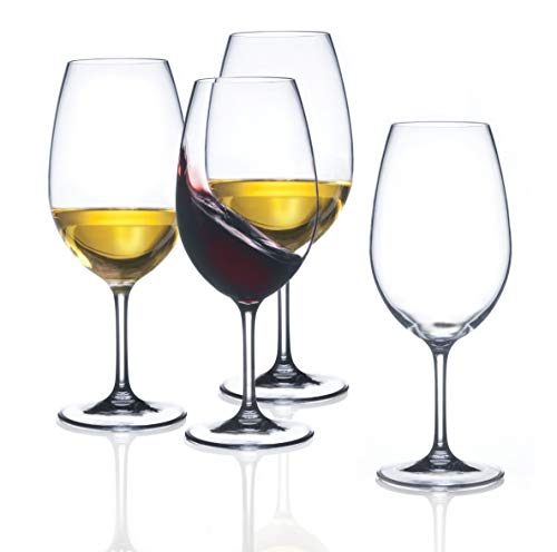 FDCuvée 22 oz Set of 4 Drama Free Unbreakable Stemmed Wine Glass | 100% Tritan | Dishwasher safe | Odorless | BPA Free | Not Glass Material | Indoor/Outdoor | Parties & Camping (Wine Herbal Merlot)