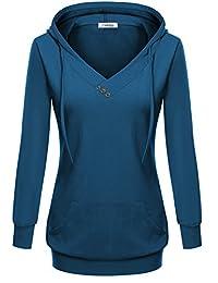 Meaneor Womans Long sleeve Button Decor Kangaroo Pocket Sweatshirt Hoodie
