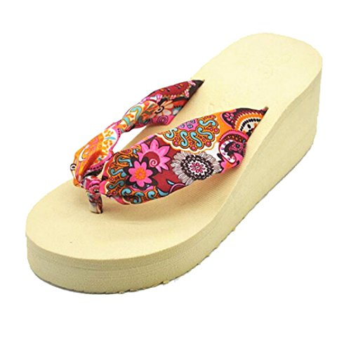 Beige Chaussons Bohemian Tongs Femmes Platform Fulltime® Wedges Sandal Plage vAn80qO