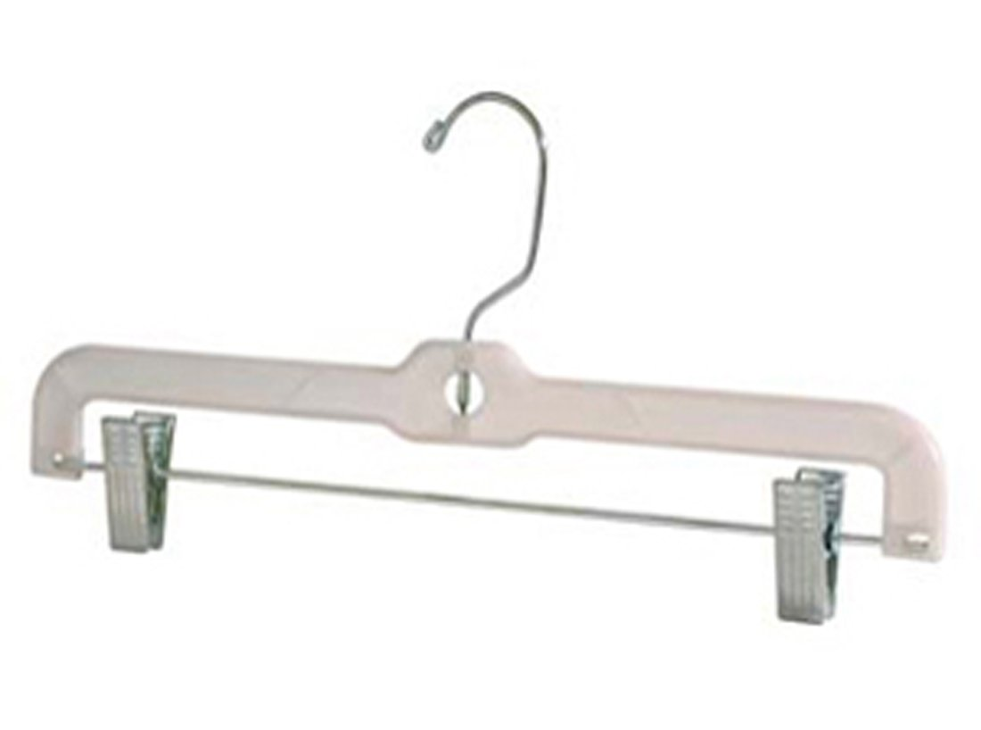 14'' Clear Heavy Weight Clear Plastic Skirt & Pant Hanger with Chrome Hook and Clips -Lot of 100