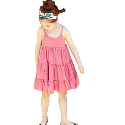 Summer Toddler Vest Clothes Baby Girls Sleeveless Solid Color Print Dresses 12M-5Yesrs,SIN vimklo Pink