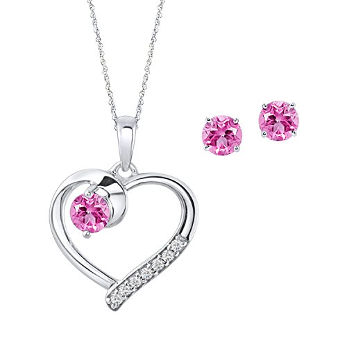 Pink Simulated Sapphire Earrings Necklace (Diamond Scotch Love Open Heart Solitaire Pendant Necklace & Stud Earrings Jewelry Set for Women White Gold Over Simulated Pink Sapphire)