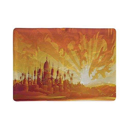 Asian Decor Utility Notebooks,Golden City under Dragon Fire Sky Palace Mythical Magical Legendary City Scenery for Work,5.82