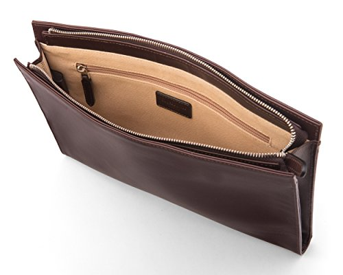 SAGEBROWN Brown Zip Top Leather Folder by Sage Brown (Image #4)