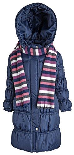 Sportoli Girls Hooded Warm Winter Long Puffer Bubble Coat with Matching Scarf - Navy (Size 7/8)