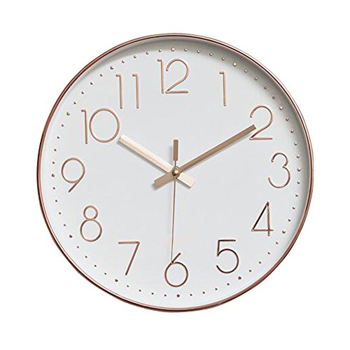 Homieco™ 12 Inch Round Modern Classic Non Ticking Silent Wall Clock Time Wall Clock