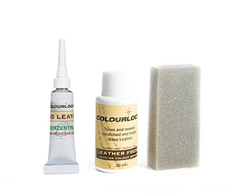 COLOURLOCK Leather Fresh Dye & Fluid Leather Filler to repair scuffs, colour damages & light scratches on leather car interiors, furniture and other leather items 30 ml – F033 White (Dye Color Chart)