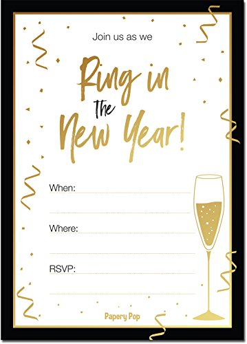 2019 New Years Eve Party Invitations with Envelopes (30 Count) - Fits Perfectly with Gold Decorations and -