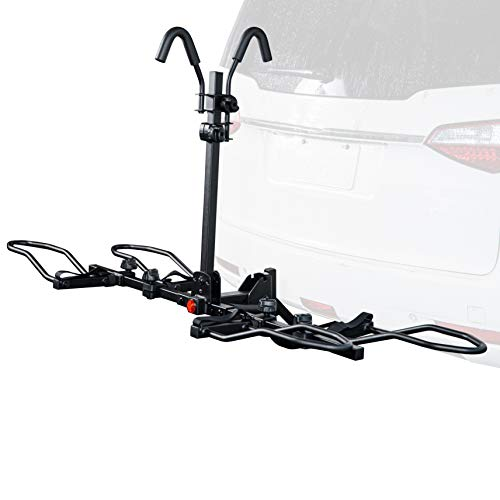Overdrive Sport 2-Bike Hitch Mounted Rack for Standard, Fat Tire, and Electric Bicycles – Extra Heavy Weight Capacity (60 lbs/Bike) – Smart Tilting, Platform Tray Style, Anti-Wobble – 1.25″