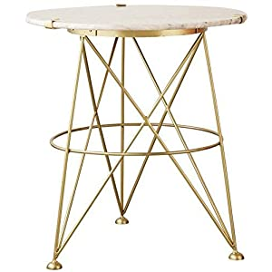 Creative Co-Op Gold Metal Table with Marble Top
