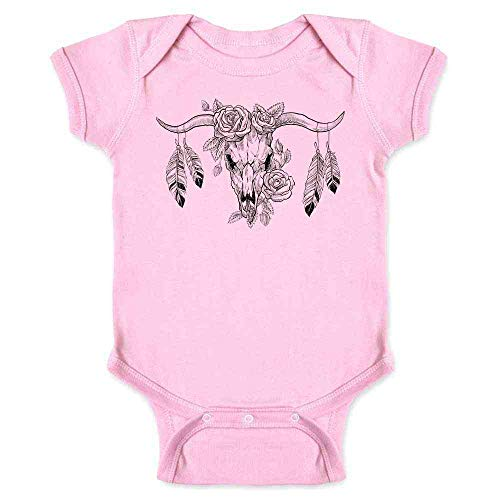 - Pop Threads Bull Skull with Roses and Feathers Pink 6M Infant Bodysuit