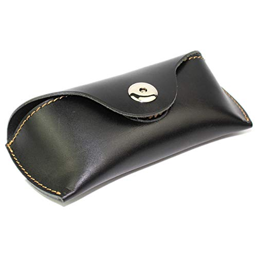 LXFF Eyeglass Case Sunglasses Holder with belt loop for Women Men - Genuine Full Grain Leather ()
