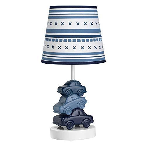 Lambs & Ivy Metropolis Blue Cars/Automobiles Nursery Lamp with Shade & Bulb