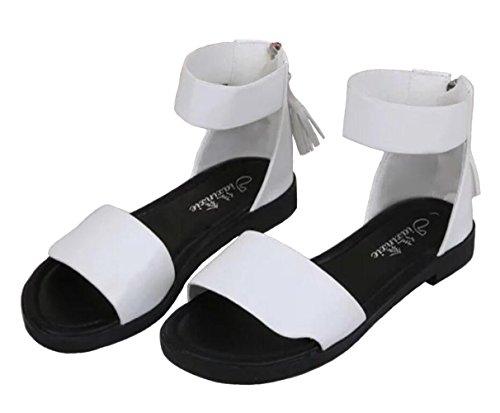 DADAWEN Damen Sommer Sandalen Mädchen Riemchensandalen Outdoorsandalen Weiß