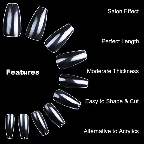 Clear Coffin Acrylic Nails - ECBASKET 500pcs Full Cover Ballerina Nails Tips Ballet Shaped Artificial False Nails 10 Sizes