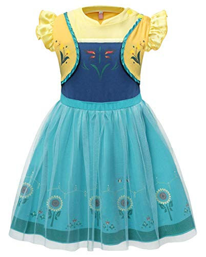Cotrio Girls Anna Dress Toddler Princess Dress up Halloween Costume Dresses Sleepwear Nightgowns Size 3T (100, 2-3Years, Fake-Two-Pieces)
