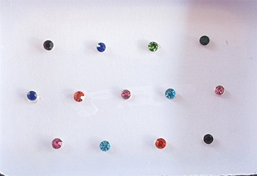 25 Colorful 1mm Crystals Eye Bindi Sticker Pack/ Bindis/ Self Adhesive/ Fake Nose Stud/ Stick On Studs