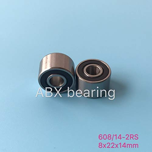 Huscus 100pcs high Speed Widened Bearing 608/14-2RS 608/14 W608RS 408-2RS 408 Textured Twister Special 82214 mm (Double Row ()