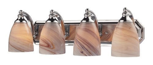 Creme Chrome - Elk 570-4C-CR 4-Light Vanity In Polished Chrome and Creme Glass