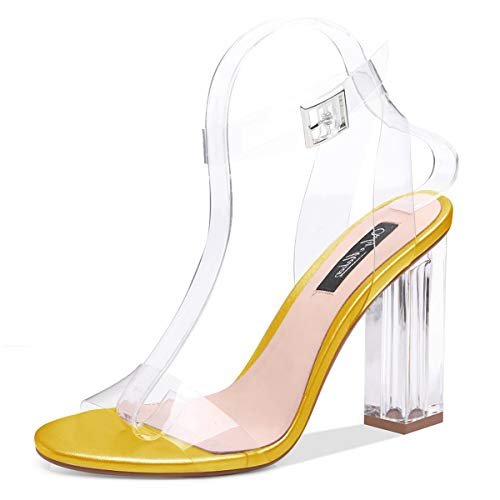 Onlymaker Women's Lucite Clear Ankle Strap Adjustable Buckle Block Chunky Perspex High Heel Transparent Dress Sandals Yellow US 8