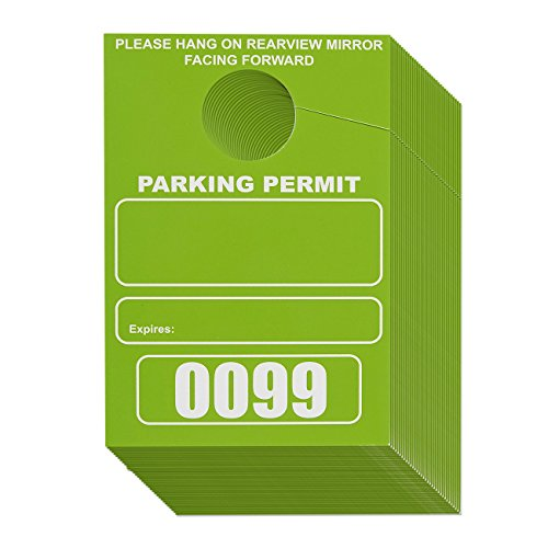 100-Pack Parking Permit, Blank Temporary Parking Pass, Numbered Hang Tags, Car Parking Management, Green, 3.13 x 4.75 Inches
