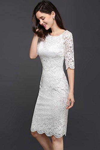 Babyonlinedress Vestido de encaje corto de fiesta de noche y para bodas vestido ajustado y elegante cuello redondo 1/2 manga transparente espalda de cierre blanco