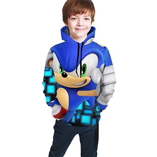 Rose Marlowe Children's Hoodies So-nic The Hedg-ehog Unisex Hooded Sweatshirt for Boys/Girls/Teen/Kid's Black