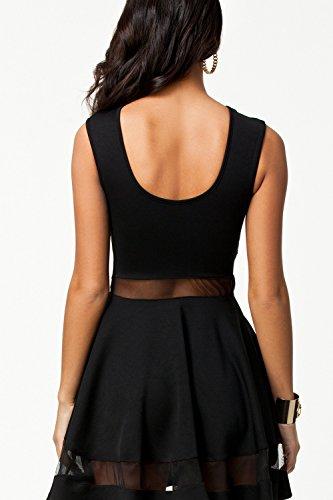 mangas plisado mujeres las Sin vestido de de vestido transparente negro fiesta dqzCEzw