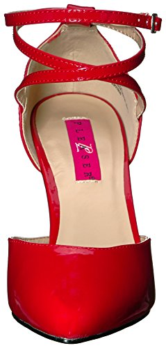 Pink Red D'Orsay Pleaser Pump Women's Label Patent Dre408 r pCPxwdq0
