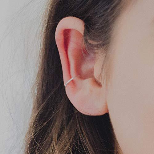 81855f89b5f43 Sterling Silver Ear Cuff for Women (no piercing necessary) 18g 10MM Hoop  Earring