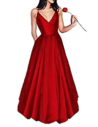 MJBridal Simple Spaghetti Long Prom Dress with Pocket Backless Evening Party Gown