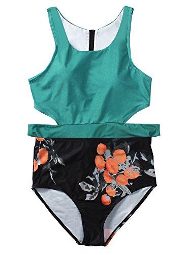 Reteron Women's High Waist Racerback Tank One Piece Swimsuit (Green Floral, L) - Racerback Tie