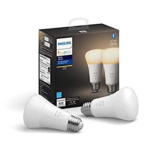 Philips Hue White 2-Pack A19 LED Smart Bulb, Bluetooth & Zigbee compatible (Hue Hub Optional), Works with Alexa & Google Assistant – A Certified for Humans Device