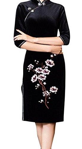 SportsX Women Gold Velvet Stand Collar Plus Size Mid-Long Cheongsam Dress Black1 2XL ()