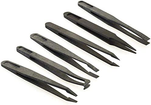 GUOJIAYI 黒繊維ピンセットツールセット6ピースプラスチックピンセット尖ったフラットエルボーラウンドヘッドワイドマウスフラットヘッドツールセット