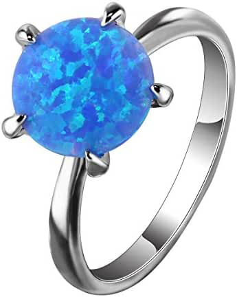 Solitaire Blue Created Opals Rhodium Plated Round Shaped Women Elegant Party Rings Jewelry Size 6 7 8 9
