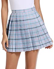 JLI MAY Women's Japan Korean Cosplay Costumes High Waisted Aline Pink Tennis Plaid Pleated Skirts Mini Skirt Plus Size School Uniform