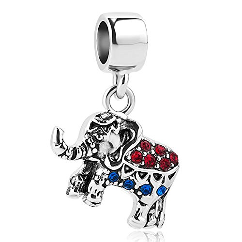 LilyJewelry Elephant Dangle Charm Animal Beads For European Bracelets