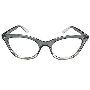 AStyles - Vintage Inspired Gradient Half Tinted Frame Clear Lens Wayfarer Cat Eye Glasses (Black-Clear-Bottom, Clear)