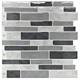 backsplash tile pictures Peel & Stick Backsplash Tile for Kitchen, Gray Decorative Tile (10 Sheets)