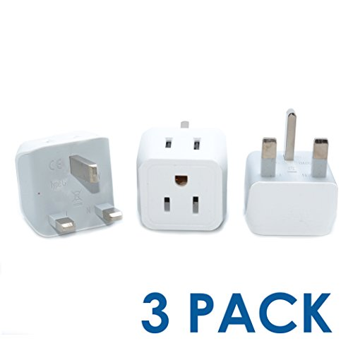 America Standard Adapter - Ceptics USA to UK, Hong Kong Travel Adapter Plug - Type G (3 Pack) - Dual Inputs - Ultra Compact (Does Not Convert Voltage)
